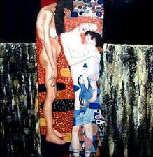 Gustav Klimt  Three Ages of Woman Repro, Hand Painted Oil Painting 36x36in