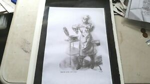 WW2 photo copy of drawings humor and nurse  acck girl  x 5 lot