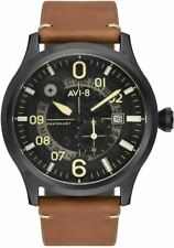 NEW AVI-8 Flyboy Centenary Automatic Watch AV-4060-03 Black Brown with 3 Straps