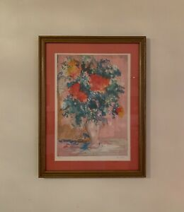 Yeyha Shafic Flowers Lithograph Hand Signed Numbered 165/275 Vintage Pop Artwork