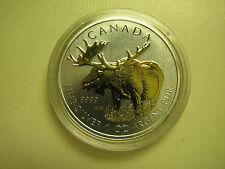 2012 Bullion $5 1oz Moose .9999 Silver Maple Leaf SML w/ gold plate Canada COIN