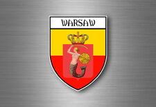 Sticker decal souvenir car coat of arms shield city flag warsaw poland