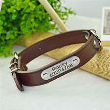Personalised Custom Genuine Leather Dog Cat Pet Collar Engraved With Name Number
