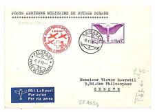 AR252 1940 SWITZERLAND Samaden Cover Geneve Airmail Internal Military Flight