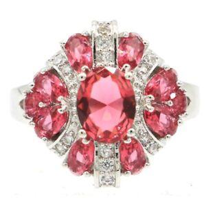 SheCrown Fantastic Pink Raspberry Rhodolite Garnet CZ Present Silver Ring 9.5