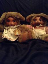 Robert Raikes Bear Brett 20401 & Ashley 20400 Bunny Rabbit Stuffed Set Wood Face