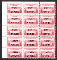 Newfoundland 1946 SG292 2c. on 30c. Carmine Marginal Blk of 15 MNH stamps