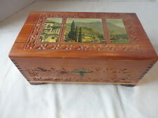 Vintage Carved Wood Cottage Picture Jewelry Box Mirror Inside Lid