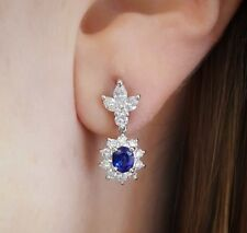 2.15 ct Sapphire and Diamond Halo Drop Earrings in Platinum - HM1819N