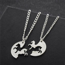 2pcs Two Horses Lover Best Friend Gifts Charm Silver Plated Pendant Necklace BDA