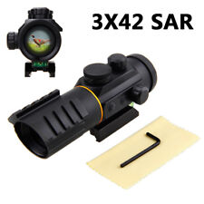 Tactical 3x42SAR Holographic 5 MOA Red/Green Dot Sight Rifle Laser Scope NEW QV2