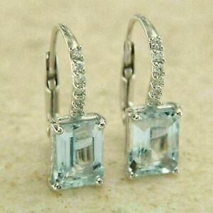4.30Ct Emerald Cut Aquamarine Drop/Dangle Solid Earrings 14K White Gold Finish