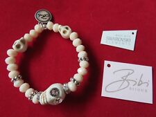 Bibi Bijoux Pale Peach Skull Faceted Bead Bracelet - Bnwt