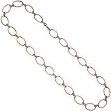 Necklace IN Verketteten Oval Rings, 925 Silver Red Gold Plated Ring Chain, 80cm