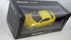 Vintage Rare Mazda RX8 Autoart 1/18 Toy Model Car Rotary Engine Racing Yellow