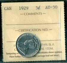 1929 Canada King George V Five Cent ICCS AU-50