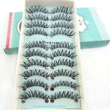 EH92 10 pairs Handmade Popular Hot False Eyelashes 15mm Long Cross Eye Lashes