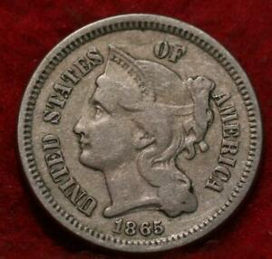 1865 Philadelphia Mint Nickel Three Cent Coin