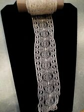 Antique Needle Lace Trim Handmade Ecru Spider Web Design 105 X 2