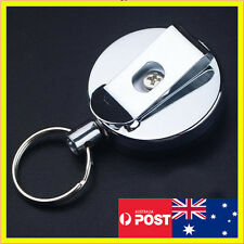 Metal Steel Retractable Pull Chain Holder Reel Recoil Key Ring Belt Clip Snap