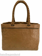 new Authentic Bottega Veneta Camel Intrecciato Nappa Large Top Handle Tote Bag
