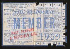 1959 North Melbourne Past Players Membership season Ticket Kangaroos
