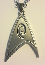 """Star Trek Engineering Logo DELUXE 2"""" Silver Tone Necklace w 24"""" Chain-FREE S&H"""