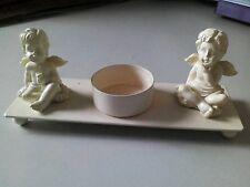 Teelichthalter mit zwei  Engeln in Naturfarben Nr. 671