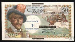 ST.PIERRE & MIQUELON 1 NF on 50 FRANCS P-30 1960 Over Printed UNC MONEY NOTE