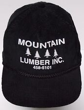 Vtg 90s MOUNTAIN LUMBER HARDWARE COMPANY BLACK CORDUROY ADVERTISING SNAPBACK HAT