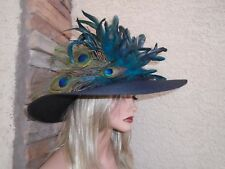 peacock Kentucky derby formal dress fancy new ascot church tea races feather