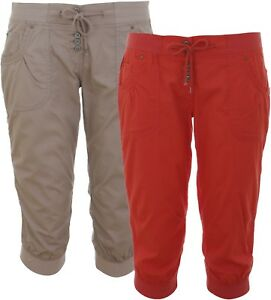 Ladies Womens Crop Pants Cropped Capri Shorts Pedal Pushers Cotton Bottoms Size