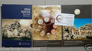2016 MALTA 9 monete 5,88 EURO Malte 8 monete + 2 euro zecca lettera F Gigantia