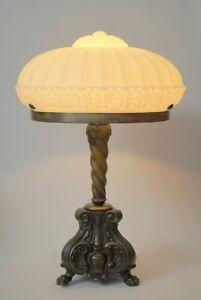 Prunkvolle große original Jugendstil Tischlampe Messinglampe Bronze 1920