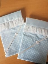 Handmade Blue Spotted Baby Crib Sheet with Blue Satin & White Lace Edge.