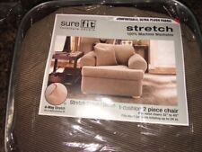 Sure Fit®  Stretch Stripe / Brown Chair Slipcover in Brown 15288