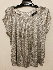 New York & Company Womens Top Size XL Beige Pattern Cap Sleeve Pullover Blouse