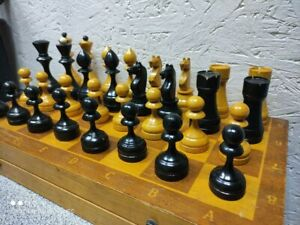 Soviet old Wood Chess Set Russian Vintage USSR Antique