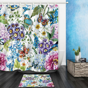 Watercolor Bird Butterfly In Flower Bathroom Fabric Shower Curtain With 12 Hooks