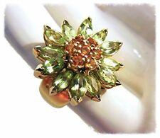 NEW Colorful Gemstone Daisy Ring-Peridot Citrine 18K Gold-Other gems & Silver OK
