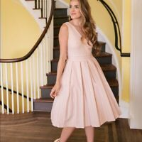 Gal Meets Glam Plus Size Samantha Sleeveless V-Neck Fit & Flare Dress Pink/White