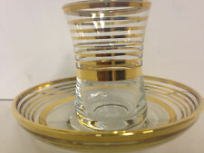 Small clear with gold ring tea cups and saucers made in Turkey