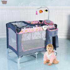 Foldable Baby Crib Playpen Playard Pack Travel Infant Bassinet Bed Music Pink