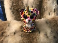 GISELLE THE RAINBOW COLORED UNICORN LEOPARD BEANIE BOO MWMT. 6""