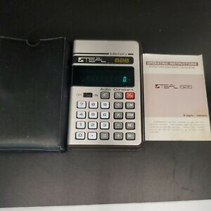 Vintage Teal 826 Electronic Calculator & Manual Collectible Tested Works Great!