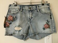 NWT Silver Jeans Aiko Denim Jean Shorts Size 27 Floral Embroidery