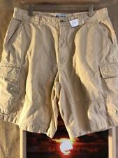 "Columbia men's 34 x 10"" cargo shorts light-yellow solid flat zip fly cotton"