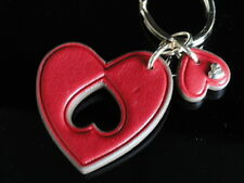 Anya Hindmarch Ah 2 Hearts Red Butter Leather Keyring New in Gift Box