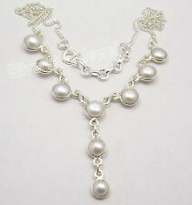"""925 Solid Silver AAA WHITE PEARL EXTRA ORDINARY Curb Chain ART Necklace 17.9"""""""