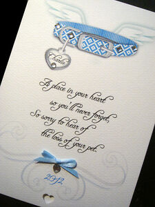 Personalised Handmade 'loss of your pet' Sympathy Card